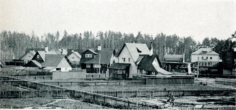 Первые постройки в поселке Сокол