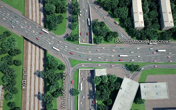 Схема реконструированной транспортной развязки с тоннелем под Волгоградским проспектом