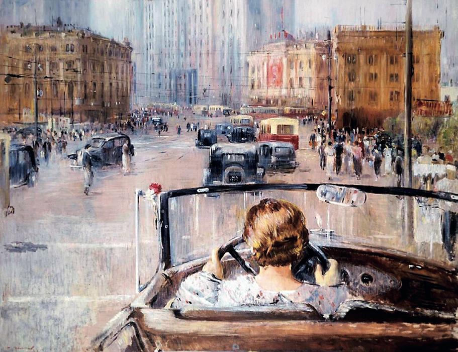 Сталинский город мечты на картине Ю. Пименова «Новая Москва», 1937 год